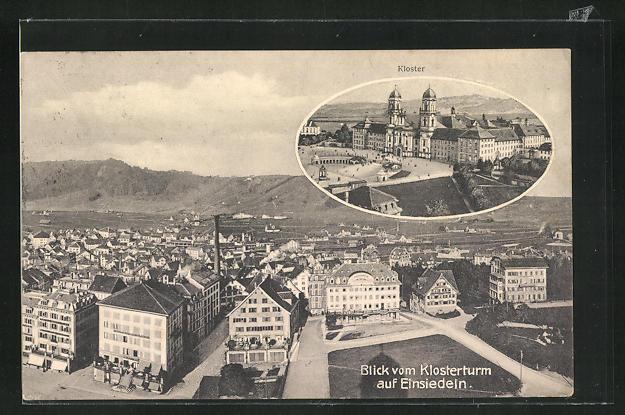 AK Einsiedeln, Blick vom Klosterturm auf den Ort, Kloster 0