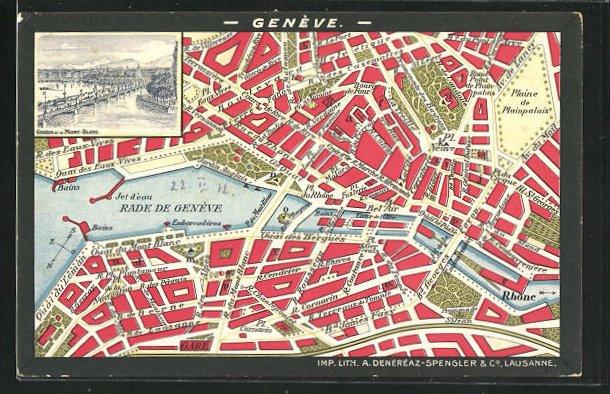 Künstler-AK Geneve, Teilansicht u. Mont-Blanc, Stadtplan mit Pl. Du Rhone, Bel`Air und Pl. Cornavin 0