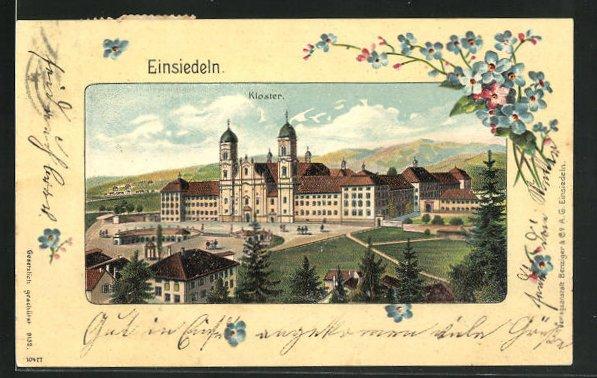 Präge-Passepartout-Lithographie Einsiedeln, Kloster 0