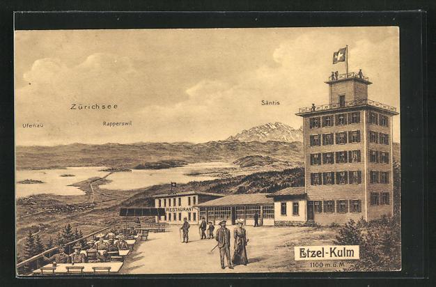 AK Etzel-Kulm, Restaurant mit Ufenau, Rapperswil u. Säntis, Zürichsee 0