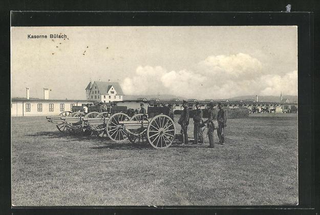 AK Bülach, Kaserne und Soldaten in Uniformen mit Kanonen 0