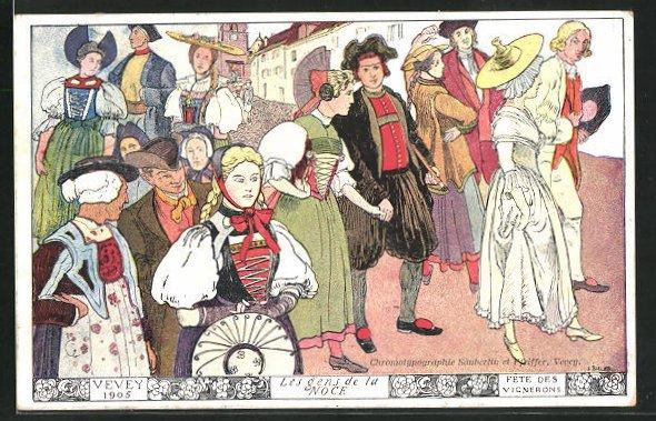 Künstler-AK Vevey, Fete des Vignerons 1905, Les gens de la Noce 0
