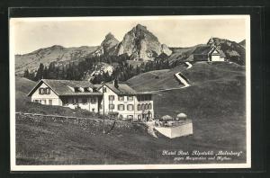 AK Balmberg, Hotel Rest. Alpstubli Balmberg gegen Bergstation und Mythen