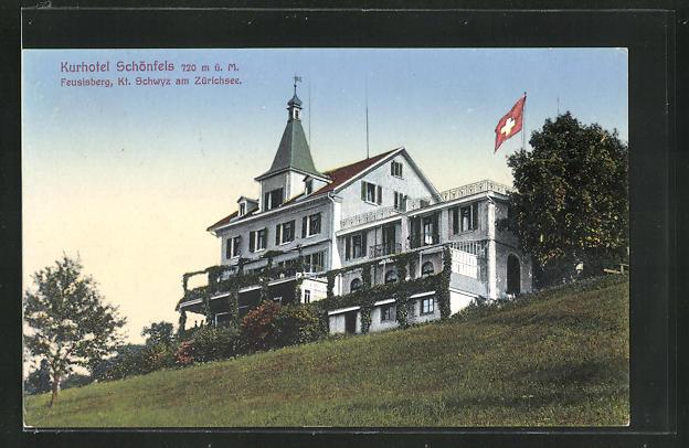 AK Feusisberg, Kurhotel Schönfels mit Schweizer Flagge 0