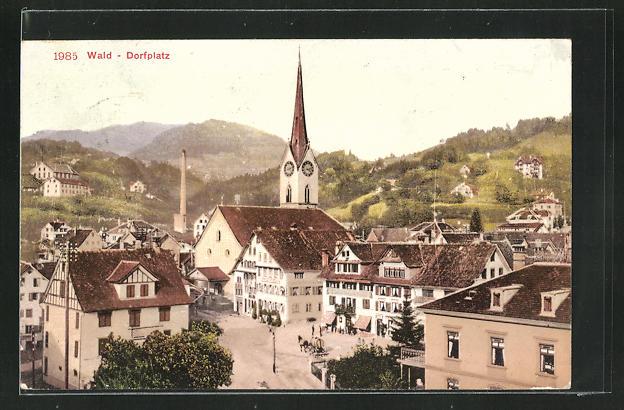 AK Wald, Dorfplatz mit Kirche 0