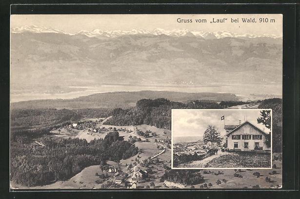 AK Wald, Gasthaus z. Lauf mit Schweizer Flagge, Teilansicht 0