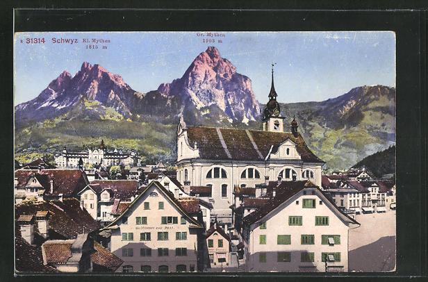AK Schwyz, Gasthaus zur Post mit Kl. Mythen u. Gr. Mythen 0