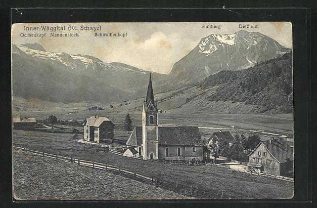 AK Inner-Wäggital / Schwyz, Teilansicht mit Ochsenkopf, Mannenstock und Schwalbenkopf 0
