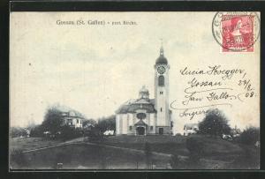AK Gossau, Blick zur prot. Kirche