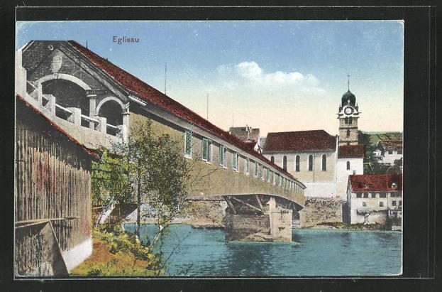 AK Eglisau, Ortspartie mit Flussbrücke 0