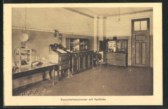 AK Schwyz, Kollegium Maria Hilf, Konsulationszimmer mit Apotheke 0