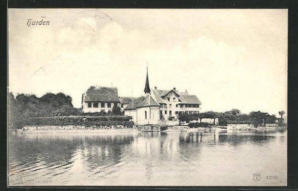AK Hurden, Blick vom See auf die Kirche 0