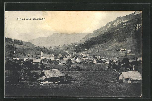 AK Marbach, Ortspartie im Gebirge 0