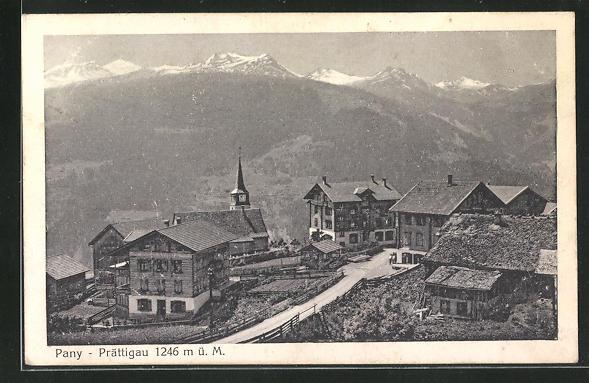 AK Pany, Ortspartie mit Kirche im Gebirge 0