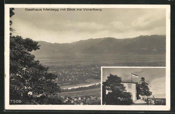 AK Walzenhausen, Gasthaus Meldegg, Panoramablick ins Vorarlberg 0