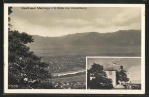 AK Walzenhausen, Gasthaus Meldegg, Panoramablick ins Vorarlberg