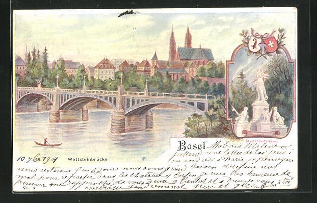Lithographie Basel, Ortsansicht mit Wettsteinbrücke und St. Jakob-Denkmal 0