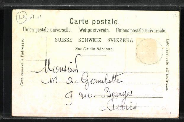 Lithographie Luzern, Luzernerin am Löwendenkmal 1