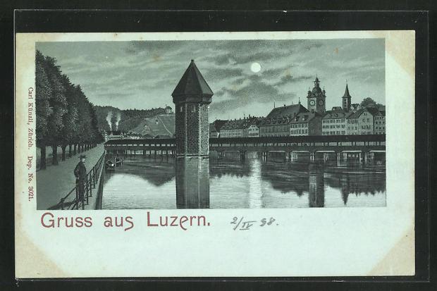 Mondschein-Lithographie Luzern, Uferpartie mit Turm im Wasser 0
