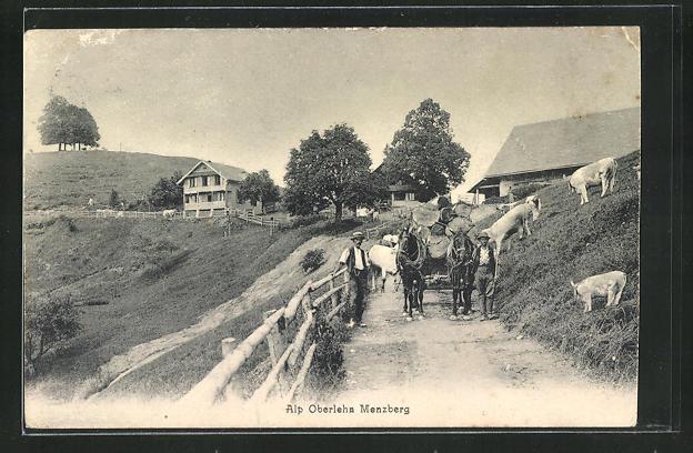 AK Menzberg, Kutschpartie auf der Alp Oberlehn 0