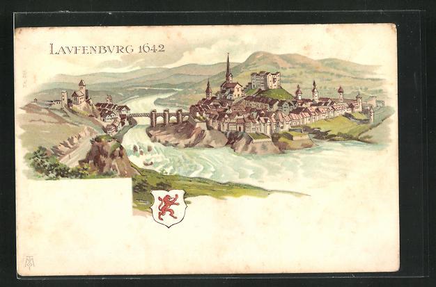 Lithographie Laufenburg, Panorama 1642 0