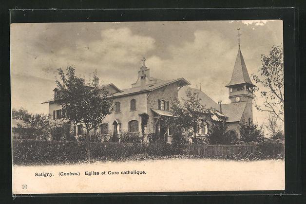 AK Satigny, Eglise et Cure catholique 0