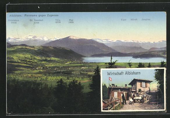 AK Hausen am Albis, Panorama gegen Zugersee & Wirtschaft Albishorn 0