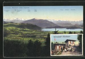 AK Hausen am Albis, Panorama gegen Zugersee & Wirtschaft Albishorn
