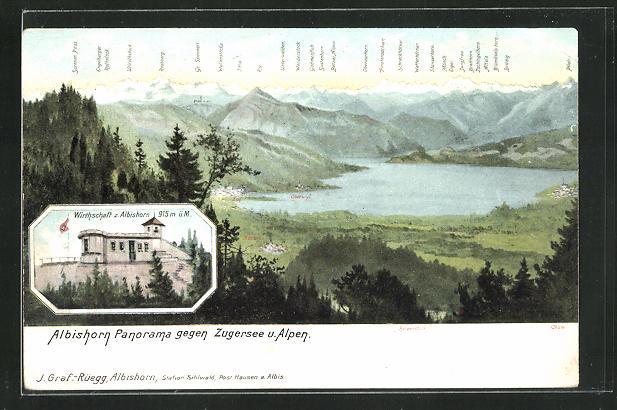 AK Hausen am Albis, Gasthaus Albishorn, Panorama gegen Zugersee und Alpen 0