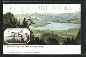 AK Hausen am Albis, Gasthaus Albishorn, Panorama gegen Zugersee und Alpen