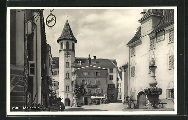 AK Maienfeld, Ortspartie mit Brunnen 0