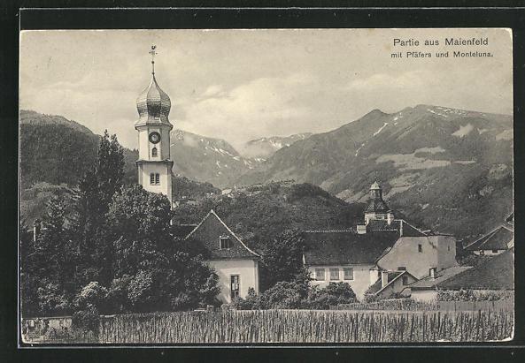 AK Maienfeld, Panorama mit Pfäfers und Monteluna 0