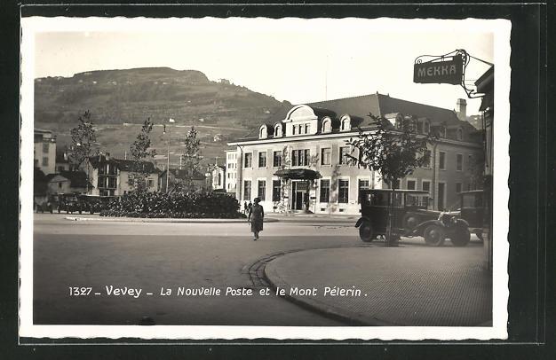AK Vevey, La Nouvelle Poste et le Mont Pelerin 0
