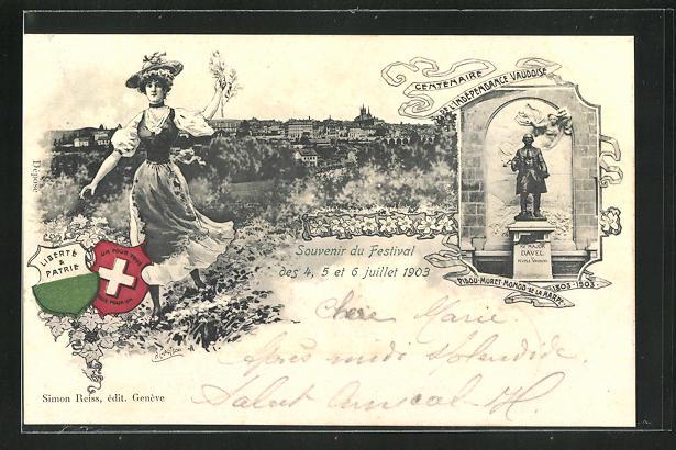 Passepartout-AK Lausanne, Festival 1903, Centenaire de l`Independance Vaudoise 0