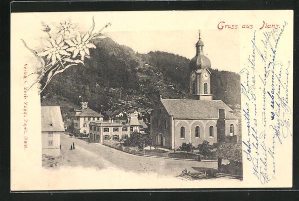 AK Ilanz, Ortsansicht mit Kirche 0