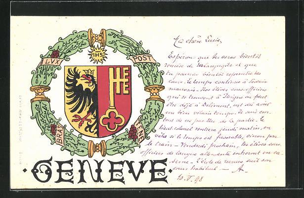 AK Geneve, Wappen mit Kranz 0