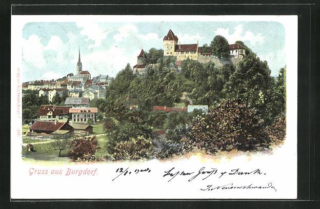AK Burgdorf, Panorama mit Burg 0