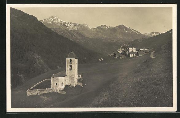 Foto-AK Avers-Cresta, Panorama mit Kirche 0