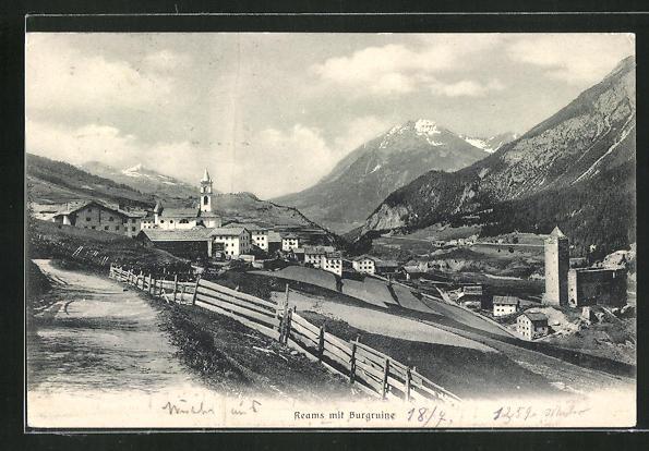 AK Reams, Panorama mit Burgruine 0