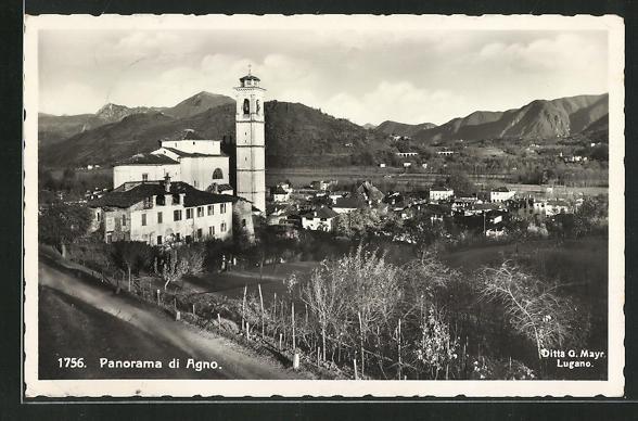 AK Agno, Panorama mit Kirche 0