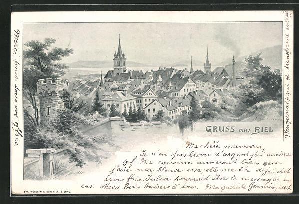 Künstler-AK August Kunz: Biel, Panorama mit Kirchturm 0