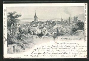 Künstler-AK August Kunz: Biel, Panorama mit Kirchturm