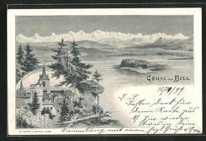 Künstler-AK August Kunz: Biel, See und Kirchturm