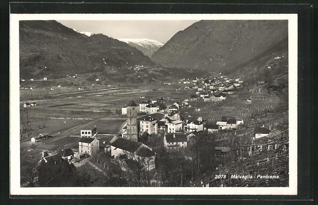 Foto-AK Malvaglia, Panorama des Ortes 0