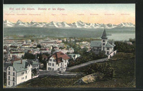 AK Biel, Totale mit den Alpen 0
