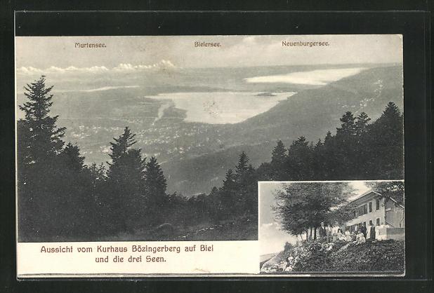 AK Biel, Aussicht vom Kurhaus Bözingerberg auf die drei Seen 0