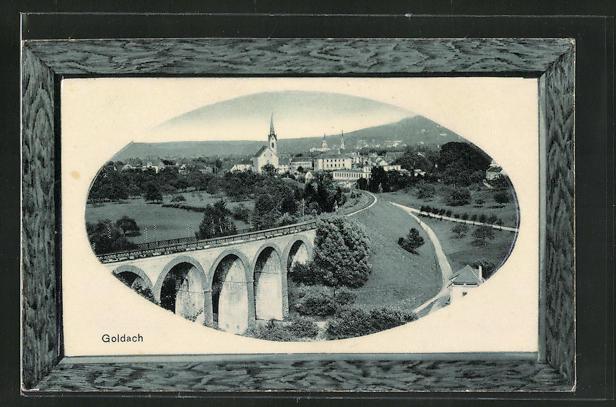 Passepartout-AK Goldach, Totale mit Viadukt 0