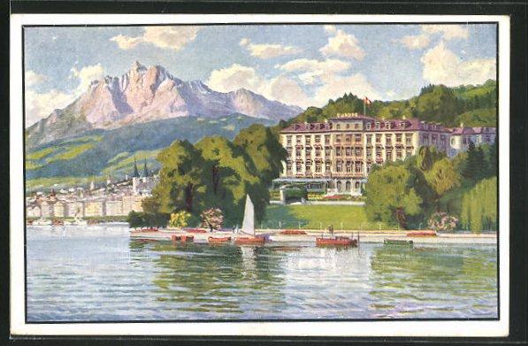Künstler-AK Lucerne, Grand Hotel Europe 0