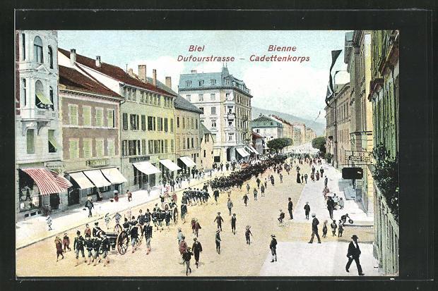 AK Biel, Dufourstrasse mit Cadettenkorps 0
