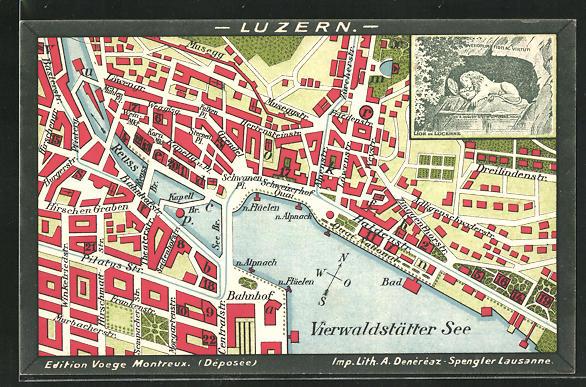 Künstler-AK Lucerne, Lion, Stadtplan mit Dreilindenstrasse, Friedenstrasse und Bahnhof 0